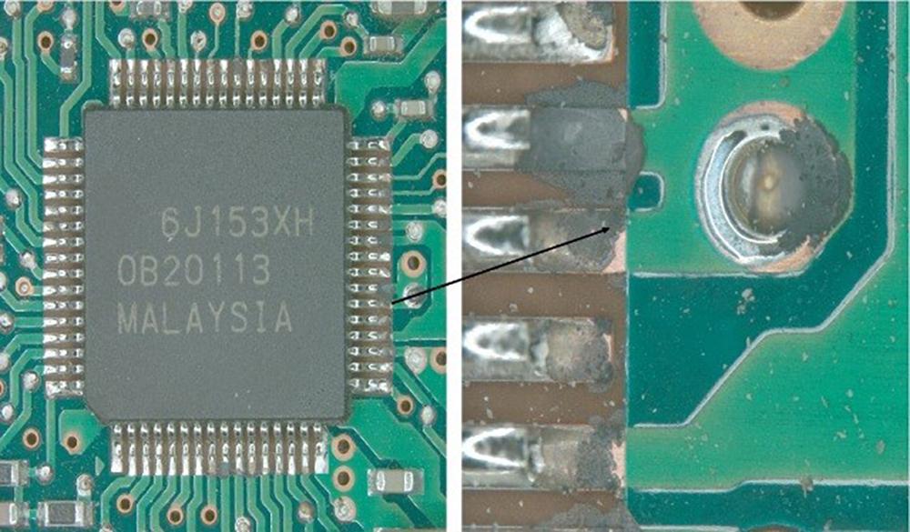 Elektronikkorrosion an QFP SMD