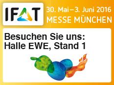 DOLGE Systemtechnik auf der IFAT in München. Besuchen Sie uns in der Halle EWE, Stand 1 (30. Mai - 3. Juni 2016, Messe München)